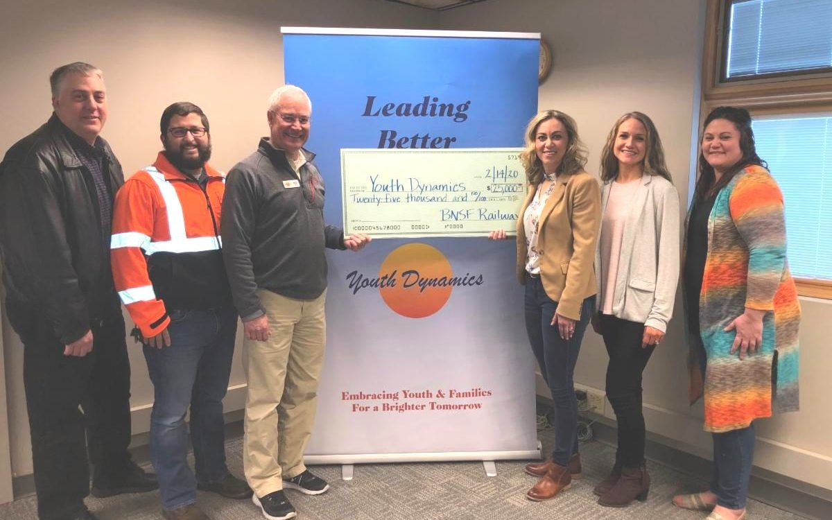 BNSF Donation 1200x750 - BNSF Railway Foundation Awards $25,000 Grant to Youth Dynamics to Help Families Pay for Group Home Care